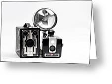 European Travelers Mother And Daughter Cameras Bw Greeting Card