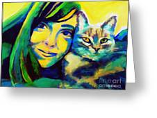 Evangelina And The Cat Greeting Card