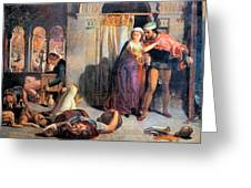 Eve Of Saint Agnes The Flight Of Madelein The Drunkenness Attending The Revelry Greeting Card