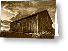 Evening Barn Sepia Greeting Card