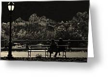 Evening Bench Warmers Greeting Card