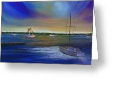Evening In The Harbor Greeting Card