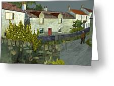 Evening In The Village. Greeting Card by Kenneth North