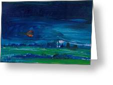 Evening Landscape Oil On Canvas Greeting Card