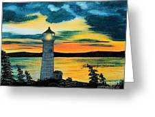 Evening Light - Lighthouse Greeting Card