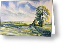 Evening Light On The Woldsway Greeting Card