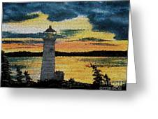 Evening Lighthouse In Stained Glass Greeting Card