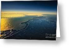 Evening Ocean Shore From The Airplane Window Greeting Card