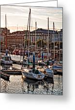 Evening On The Harbor  Greeting Card