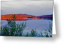 Evening Sun Glow On Calm Twin Lakes Yukon Canada Greeting Card