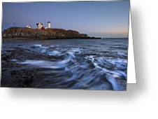 Evening Surf At Nubble Greeting Card