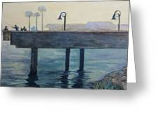 Eventide At The Oceanside Harbor Fishing Pier Greeting Card
