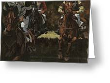 Eventing Horses Over Jump Greeting Card