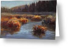 Ever Flowing Alaskan Creek In Autumn Greeting Card