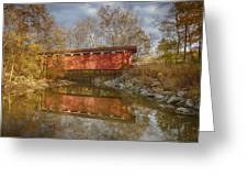 Everett Rd. Covered Bridge In Fall Greeting Card