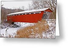 Everett Rd. Covered Bridge In Winter Greeting Card