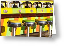 Evergreen State Fair Midway Game With Coloful Stools And Squirt  Greeting Card