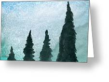 Evergreens On Green And Blue Landscape #1 Greeting Card