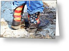 Every Day American Fishing Boots Greeting Card