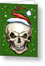 Evil Christmas Skull Greeting Card