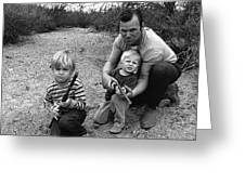 Ex Green Beret Barry Sadler In Target Practice With Son's Thor And Baron Tucson Arizona 1971 Greeting Card