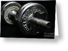 Exercise  Vintage Chrome Weights Greeting Card