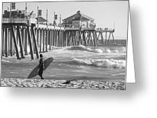Existential Surfing At Huntington Beach Greeting Card