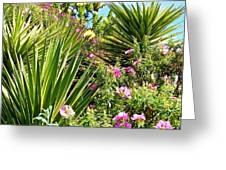Exotic Hillside Garden Greeting Card