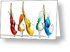 Exploding Glasses Of Paint 1 Greeting Card