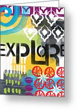Explore- Contemporary Abstract Art Greeting Card by Linda Woods