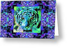 Eyes Of The Bengal Tiger Abstract Window 20130205m80 Greeting Card by Wingsdomain Art and Photography