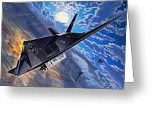 F-117 Nighthawk - Team Stealth Greeting Card by Stu Shepherd