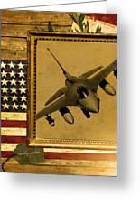 F-16 Fighting Falcon Rustic Flag Greeting Card