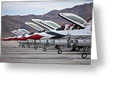 F-16c Thunderbirds On The Ramp Greeting Card by Terry Moore