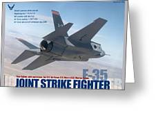 Lockheed Martin F-35 Joint Strike Fighter Lightening II With Text Greeting Card