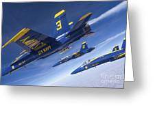 Fa-18 Hornets Of The Blue Angels Fly Greeting Card