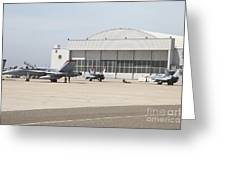 Fa-18 Hornets On The Flight Line Greeting Card