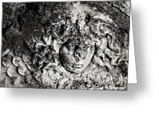 Face Carved In Stone Greeting Card