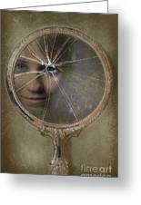 Face In Broken Mirror Greeting Card by Amanda Elwell