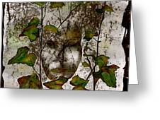 Face In The Garden Greeting Card