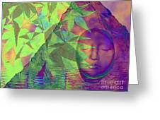 Face In The Rock With Maple Leaves Greeting Card
