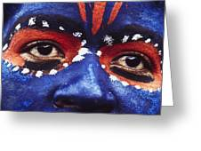 Face Of Carnival Greeting Card by Ian Cumming