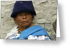 Face Of Ecuador Woman At Cotacachi Greeting Card