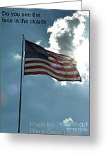 Face Of Jesus In Cloud W Flag 9 11 Remembered  Greeting Card
