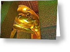 Face Of Reclining Buddha In Wat Po In Bangkok-thailand Greeting Card