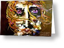 Face Series 4 Knowing Greeting Card by Michelle Dommer