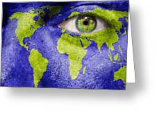 Face The World Map Greeting Card