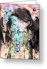 Faceless Girl With Her Crow Greeting Card