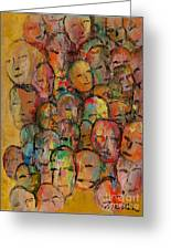 Faces In The Crowd Greeting Card