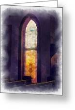 Faded Purple Stained Glass Window Photo Art Greeting Card